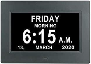 LaMi Products 7 Inch Digital Calendar Day Date Clock - 12 Alarm Options,Extra Large Non-Abbreviated Day&Month Memory Loss Clock for Seniors,Dementia,Impaired Vision (Black)