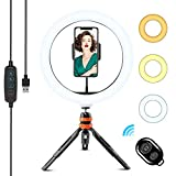 WOWGO Luce ad Anello, 10'' LED Selfie Ring Light con Treppiedi, Telecomando Wireless, 3 Modalità di Colore e 11 Livelli di Luminosità per Belle Foto o Tik Tok Video Shooting, Live Streaming, Trucco