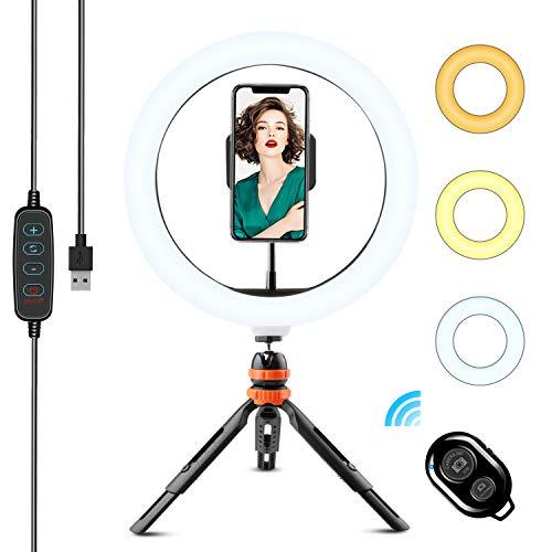 Anillo de Luz LED, WOWGO 10'' Aro de Luz con Trípode, 3 Colores 11 Brillos Regulables Bluetooth Control Remoto, Soporte Giratorio de teléfono para Selfie, Maquillaje, Youtube, TIK Tok Live