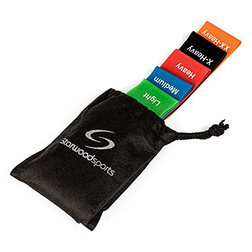 Starwood Sports Resistance Bands Set of 5-30x5cm - Rubber Latex Elastic Loop Fitness Bands For Men & Women - Build Strength, Muscle & Tone Exercise - Pilates, Yoga, Legs & Gym Workout - Multicolour