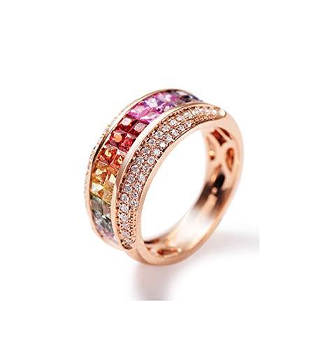 ANAZOZ Anillos Mujer Oro Rosa 18K,Anillo Oro Rosa Mujer Compromiso Redondo Zafiro Rojo 2.035ct Diamante Blanco 0.3ct Talla 13,5
