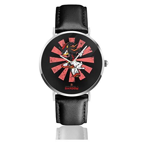 Unisex Business Casual Shadow The Hedeghog Retro Japanische Sonic Uhren Quarz Leder Armbanduhr mit schwarzem Lederband für Männer Frauen Junge Kollektion Geschenk