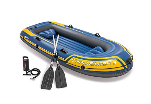 Intex 68370EP Challenger 3 Inflatable Raft Boat Set with Pump and Oars, Blue