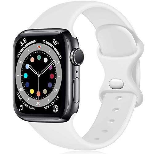 Epova Compatible con Correa Apple Watch 42mm 44mm, Mujer Hombre Silicona Pulsera para iWatch SE Series 6 5 4 3 2 1, Blanco, Pequeño