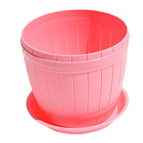Outflower Plastique Pot de fleurs Pot de fleurs avec Pallet Décoration Maison Bureau Jardin, Plastique, rose, 10*11.5*13cm