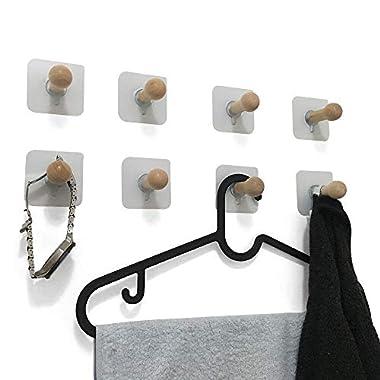 8 Pack Adhesive Wall Hooks, No Drills Wooden Hat Hooks, Storage Wall Mounted Coat Hanging Hook for Coat, Wardrobe Closet Towel Key Robe Hook