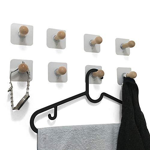 VTurboWay 8 Pack Adhesive Wall Hooks, No Drills Wooden Hat Hooks, Storage Wall Mounted Coat Hanging Hook for Coat, Wardrobe Closet Towel Key Robe Hook