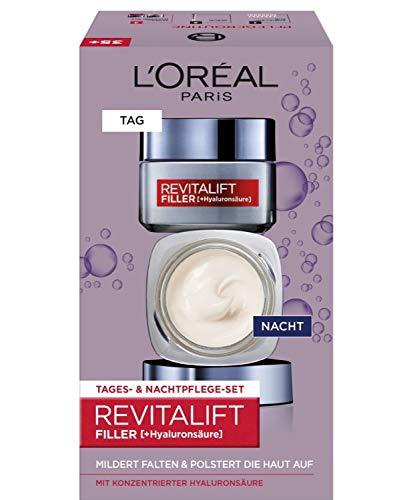 L'Oréal Paris Gesichtspflege Set, Revitalift Filler, Anti-Aging Tagespflege und Nachtpflege, Anti-Falten und Volumen, Hyaluronsäure-Konzentrat, 2 x 50 ml