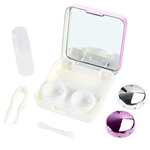 ROSENICE Kontaktlinsenbehälter modische Reise Kontaktlinsen Etui Linse Spiegel Case Behälter Set (Rose Rot)