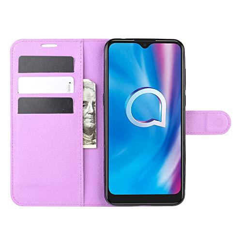 DAMAIJIA für Alcatel 3L 2020 Hüllen Klapphülle PU Leder Silikon Wallet Schutzhülle Schutz Mobiltelefon Flip Back Cover für 3L 2020 Alcatel 5029D Tasche Handy Zubehör (Purple)