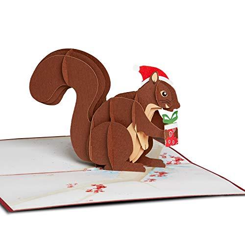 PaperCrush® Pop-Up Karte Weihnachten Eichhörnchen - Handgemachte 3D Weihnachtskarte für Frauen und Kinder inkl. Umschlag