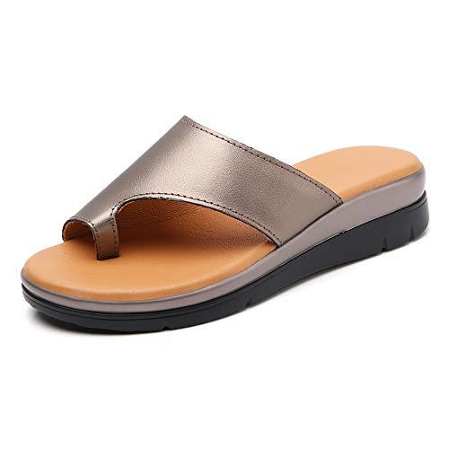 Bunion Sandals for Women Comfy - Bunion Corrector Platform Shoes BSP-2 Genuine Leather Women Flip-Flop Light Weight Ladys Shoes Wedge Sandals Size 6.5 Light Brown