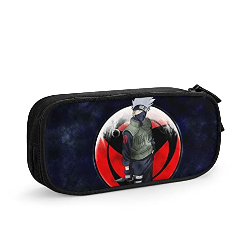Popular Anime Naruto Kakashi Big Capacity Stationery Zipper Pen Case Fashion Portable Pencils Pouch Elastic Makeup Bag Organizer Pouch For College Office