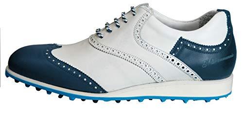 Atelier Guarotti Italienische handgefertigte Herren-Golfschuhe – Swing (spikeless) – maßgeschneidert – St. Andrews, - 1 Blau 2 Weiß 3 Weiß 4 Weiß 5 Blau 6 Blau - Größe: 47 1/3 EU