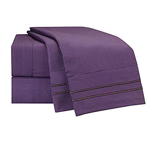 Clara Clark Supreme 1500 Collection 5pc Bed Sheet Set - Split King Size, Purple Eggplant