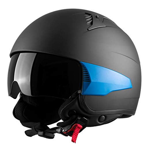 Westt Rover Motorcycle Helmet - Open Face Moped Helmet Retro Style for Motorcycle Scooter Harley with Sun Visor - 3/4 Helmet DOT Certified USA Street Legal (Matte Black)