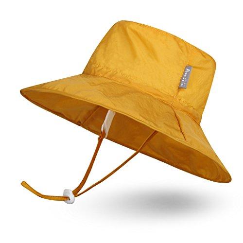 Ami & Li tots Baby Sonnenhut Superleichtes Kind Einstellbare ultradünne atmungsaktive Eimer Hut für Mädchen Jungen Säugling Kind Kleinkind UPF 50 - L: Gelb