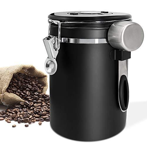 Panda Grip Kaffeedose Luftdicht,Kaffeedose Edelstahl Aromadose Vorratsdose, Kaffeebehälter, kaffeebohnenbehälter Vakuum kaffeedose mit löffel,für Kaffeebohnen oder Kaffeepulver Tee Nüsse 1.5L Schwarz
