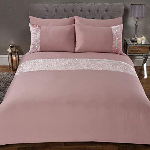 Sienna Crushed Velvet Diamante Band Duvet Cover with Pillowcase Shimmer Bedding Set, Blush Pink-Double
