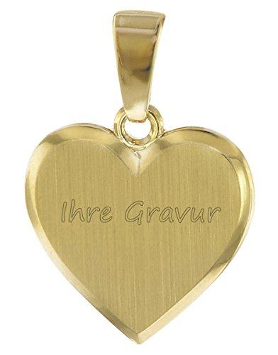 trendor Herz Anhänger zum Gravieren Gold 585 inklusive Wunsch-Gravur Gravurschmuck aus Echtgold, Schmuckstück für Damen, Geschenkidee, Herzanhänger, 08613