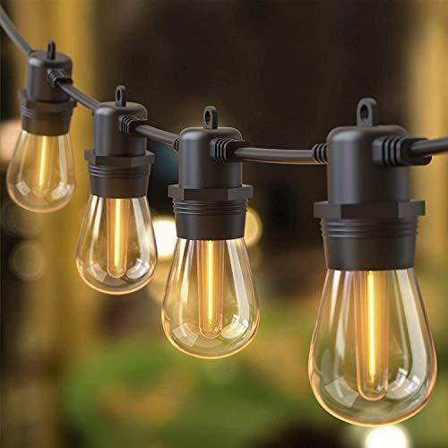 Catena luminosa a LED Quntis 31M esterna IP65 con 32 lampadine S14, max 12 catene luminose esterne collegabili tra loro, lampadina LED a catena leggera decorativa impermeabile per giardino esterno