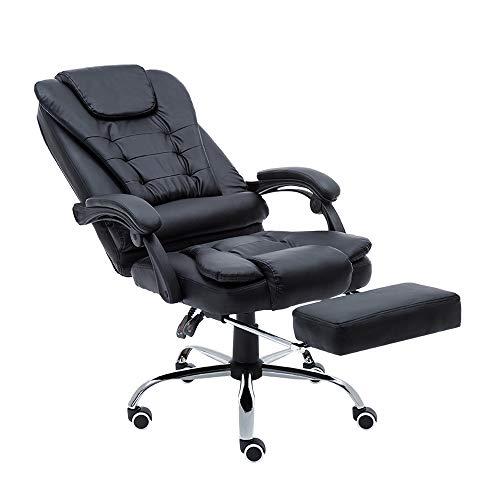 Aufun Bürostuhl mit Fußstütze, Bürodrehstuhl Drehstuhl mit Armlehnen, PU Kunstleder Gaming Stuhl Racing Sportsitz, Höhenverstellbar, Ergonomisch, 150 kg belastbarkeit, Schwarz