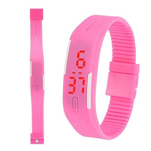 Kinder Digitale Sportuhren Elektronische LED-Licht Armbanduhr für Jugendliche Jungen Mädchen(Pink)
