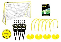 The complete football skills compendium! - Perfect for any little footballer learning the art of the beautiful game! Comes with - 3 free kick figures - ideal for shooting practice and dribbling. 6 passing target hoops which cleverly transform into a ...