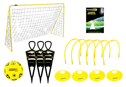 Kickmaster Ultimate Football Challenge - Kit de entrenamiento completo, color amarillo/negro