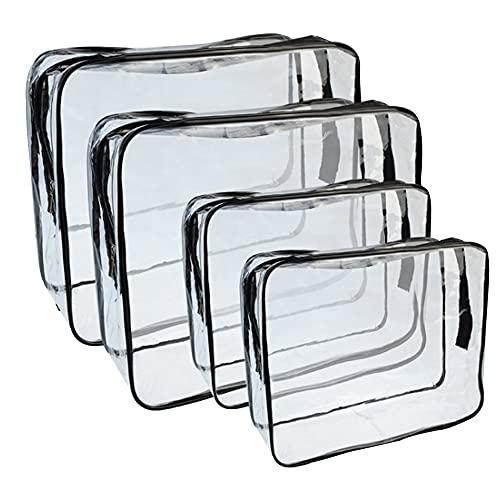 Transparent Kosmetiktasche Durchsichtiger Kulturbeutel 4 Stück PVC Wasserdicht Flugzeug Beutel Reise Set für Reise Geschäft Urlaub Bad Organisieren