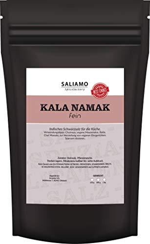 Kala Namak Steinsalz aus Indien fein es Salz, ohne künstliche Zutaten, Indisches Schwarzsalz, Gourmetsalz, mit dem typischen Geschmack, ideal als veganer Ei Ersatz (1000g)