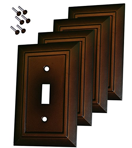 Pack of 4 Wall Plate Outlet Switch Covers by SleekLighting | Decorative Dark Brown Mahogany Look | Variety of Styles: Decorator/Duplex/Toggle / & Combo | Size: 1 Gang Toggle