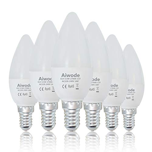 Preisvergleich Produktbild Aiwode E14 LED Lampe Kerzenleuchten, 5.5W 470LM Glühbirne Ersetz 40W Warmweiß 2700K, C37 Leuchtmittel Ra80 180° Abstrahlwinkel, 6er Pack.