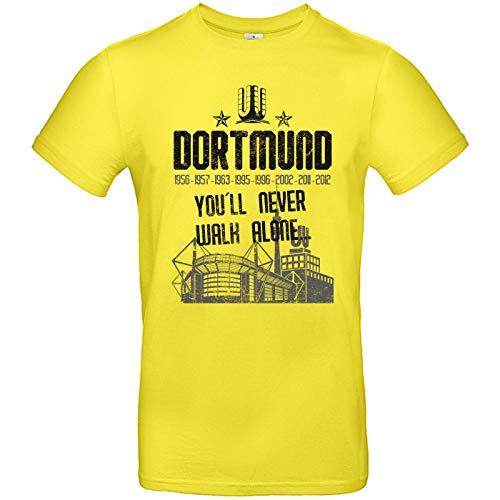 Alsino Herren T-Shirt Dortmund gelb (2) You'll Never Walk Alone mit Jahreszahlen und Stadion aus Baumwolle Größe L