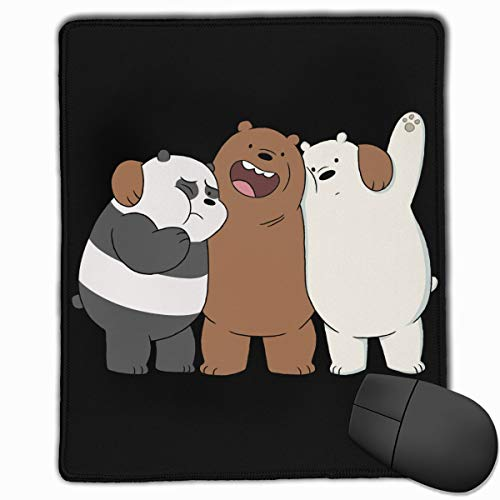 Cool We Bare Bears Mouse Pad with Stitched Edge, Non-Slip Rubber Base Mousepad for Laptop, Computer & PC, Black 12x9.8 Inch (30x25 cm)
