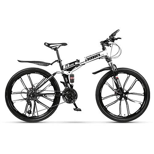XHJZ Mountainbike Falträder, 26inch 24-Gang-Doppelscheibenbremse Fully Anti-Rutsch, leichten Alurahmen, Federgabel,D,21 Speed