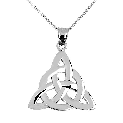 14k White Gold Traditional Celtic Trinity Knot Pendant Necklace, 16'