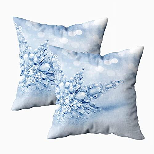 N\A Fundas de Almohada para sofá, Paquete de 2 Fundas de Almohada, Fundas de Almohada para el hogar, para sofá, Fondo de Invierno, Cuadrado, impresión a Doble Cara, Azul Verde