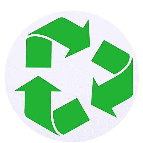 4 Inch Large Circle Recycle Sticker,Self Adhesive Recycling Symbol Bins Labels Decals| Organize & Coordinate Garbage Can Trash Bins Containers Trashcan (Green,15pcs)