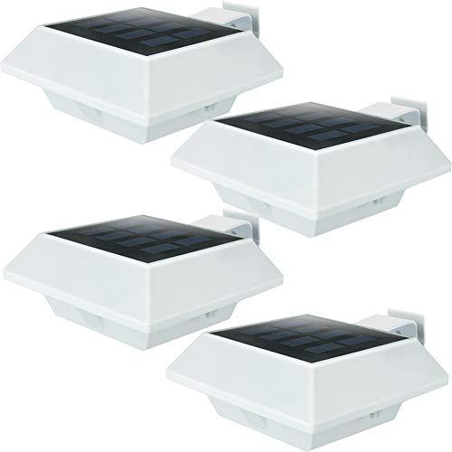 Uniquefire Weiße Solarlampe 12 LEDs Dachrinnen Außenlampe Leuchte Wandlampe Solar Warmweiße Licht für Garten, Terrasse, Fahrtweg, Höfe, Traufen (4 STK.)