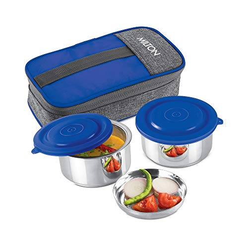 Milton Pasto Lunch Box 2 Stainless Steel Containers, Set of 2, 350 ml, Blue