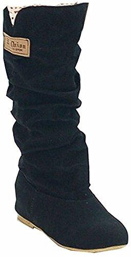 Minetom Mujer Otoño Invierno Elegante Casual Zapatos Planos Rodilla Botas Slouchy Botas De Nieve Dulce Botas Largas Negro EU 37