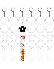 30 قطعة أكريليك سلسلة المفاتيح الفراغات شفافة ميدالية مفاتيح DIY فارغة مع 30 حلقة مفاتيح مطبوعة على الوجهين لصناعة الهدايا
