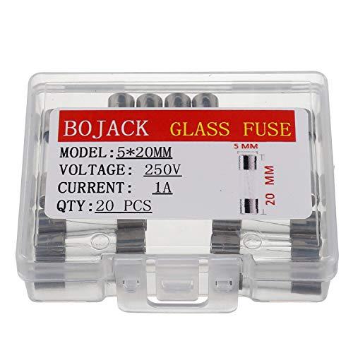 BOJACK F1AL250V 5x20 mm 1A 250V Schnell schmelzen Sicherungen 1 Ampere 250 Volt 0,2 x 0,78 Zoll Glasröhren sicherungen(Packung mit 20 Stück)