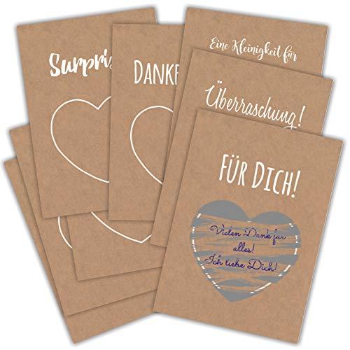 Partycards 8 Karten und 8 Rubbel-Aufkleber in Silber, Gutscheine und Überraschungen zum Rubbeln zur Hochzeit, Weihnachten, Geburtstage oder andere Anlässe verschiedene Designs