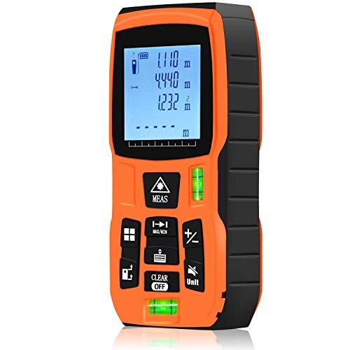 Mètre Laser Multifonctionnel- Fonctionne en Extérieur- Portée 40m- Télémètre Laser Ultra Haute Précision +/- 1.5 mm- Indice De Protection IP54- Ecran LCD Rétro-éclairé- Niveau à Bulle Intégré (40m)