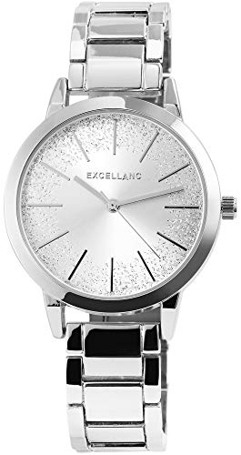 Excellanc Damen - Uhr Metallarmband Glitzer Elegant Analog Armbanduhr Quarz 1800139