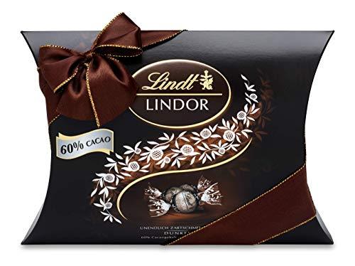 Lindt LINDOR Kissenpackung Dunkel 60% Kakao, Schokoladengeschenk, ca. 25 LINDOR Kugeln, 322g