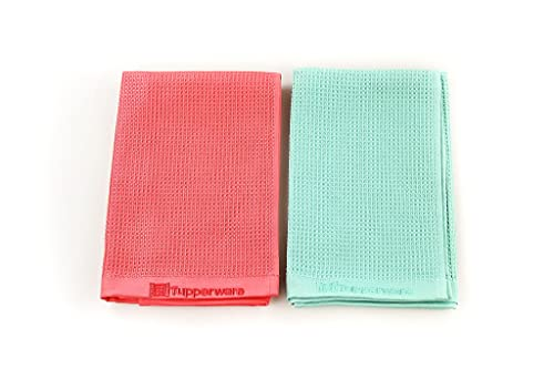 Tupperware Microfibra Paño para Cristales Limpieza Turquesa + Paño Rojo+ PAÑO DE...