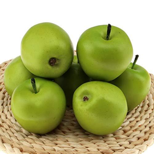 Gresorth 6 Stück Künstlich Grün Apfel Dekoration Fälschung Frucht Zuhause Party Urlaub Dekorativ Modell